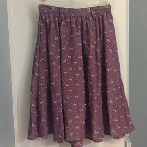 Dalmatian Print Purple Knee Length Skirt